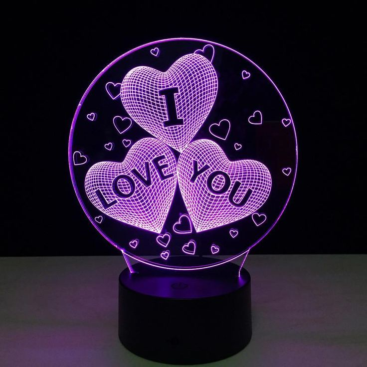 "♥3 Hearts ""I Love You"" 3D Lamp🔮"
