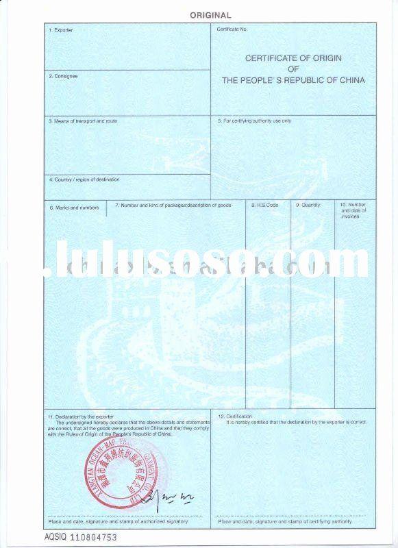 China Certificate Of Origin Template New Certificate Origin China Certificate Of Origin Certificate Templates Art Certificate