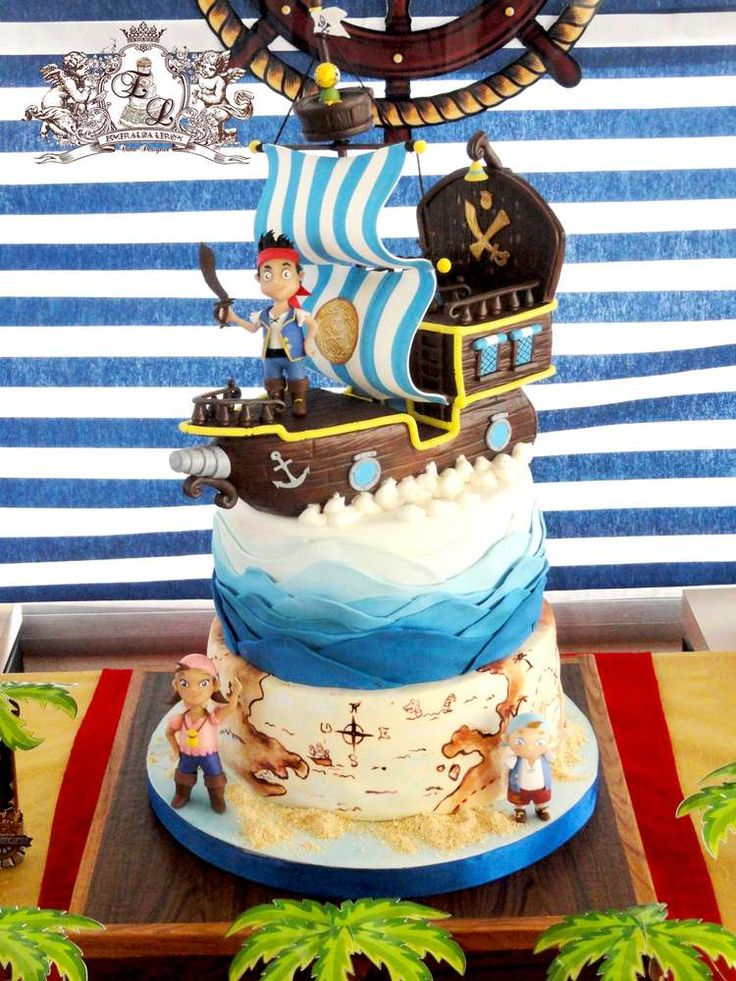 Jake and Neverland Pirates birthday party cake!   See more party planning ideas at CatchMyParty.com!