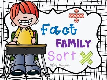 """Are you introducing multiplication and division to your class? Or maybe you're reviewing the concepts. This multiplication and division fact family sort is perfect!Students must understand HOW they work before they begin the memorization process. These fact family require students to complete each fact family, and then sort the four math equations that go with each """"family"""": two multiplication and two division."""