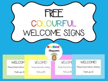 This product is perfect for anyone wanting an already made welcome sign for their classroom, office or wet area door. This product contains 8 pages of welcome signs, available in 4 different colours and two different fonts.