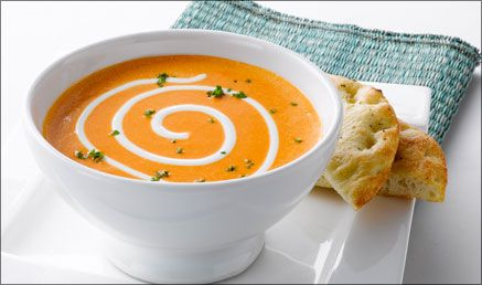 Sweet Roasted Pepper Soup with Lime Cream
