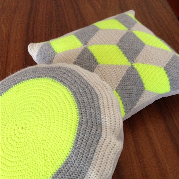 Neon Yellow Round Crochet Pillow / Cushion.