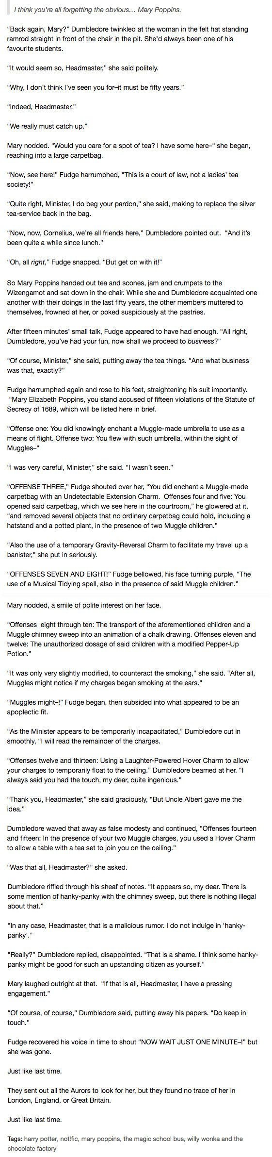 Well, here's one last bit of writing from Tumblr user Mithrel: | Tumblr Thinks Mary Poppins and Willy Wonka Belong In Harry Potter And Honestly It's Great