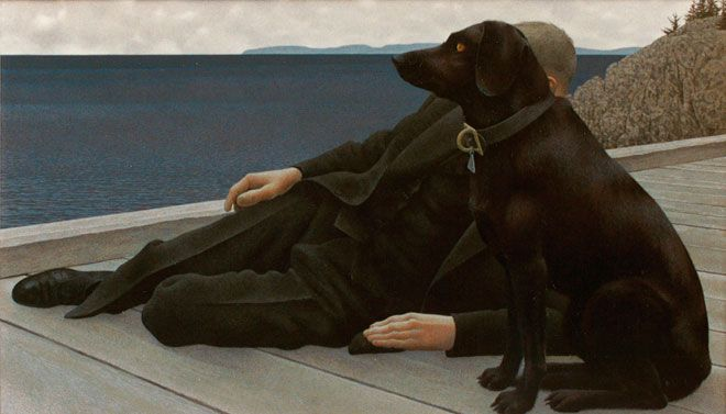 Alex Colville Exhibition at the AGO, August 23, 2014 to January 4, 2015 (Alex Colville, Dog and Priest, 1978)