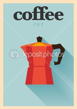 Descargar - Cartel de olla de café italiano — Ilustración de stock #34989533