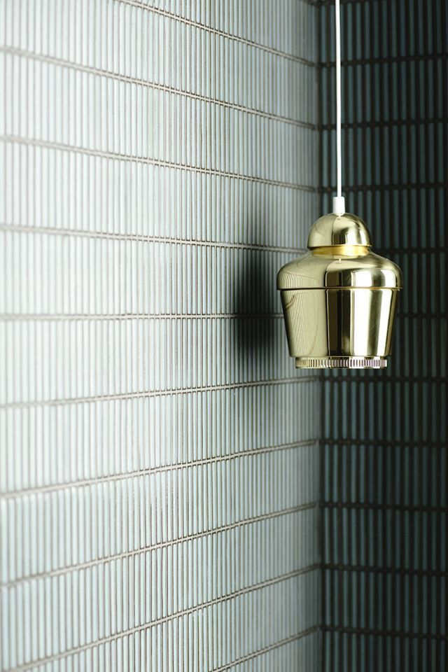 Aalto gold pendant. Finger mosaic tiles. Moss green.