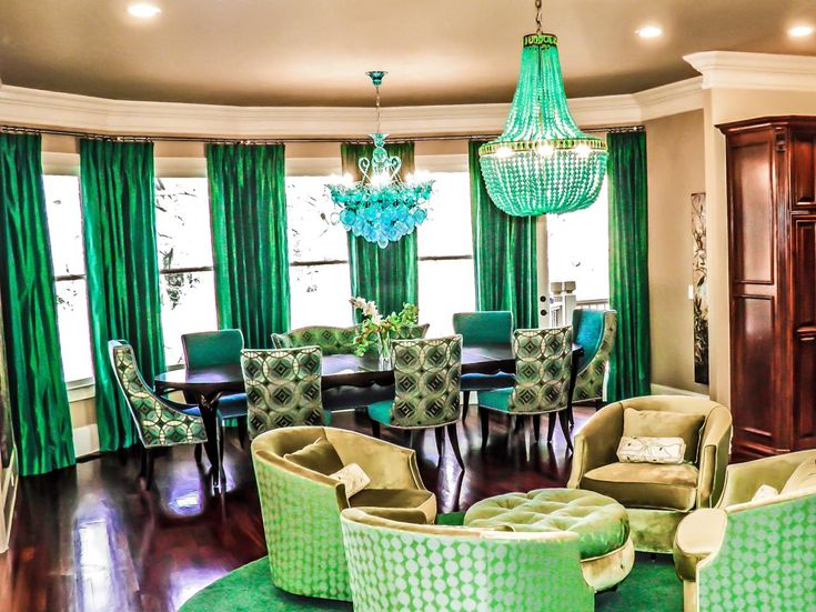 A Living Room With Four Light Green Patterned Chairs Are Situated Adjacent To Dining Area Print Fabric There Two Eclectic Emerald