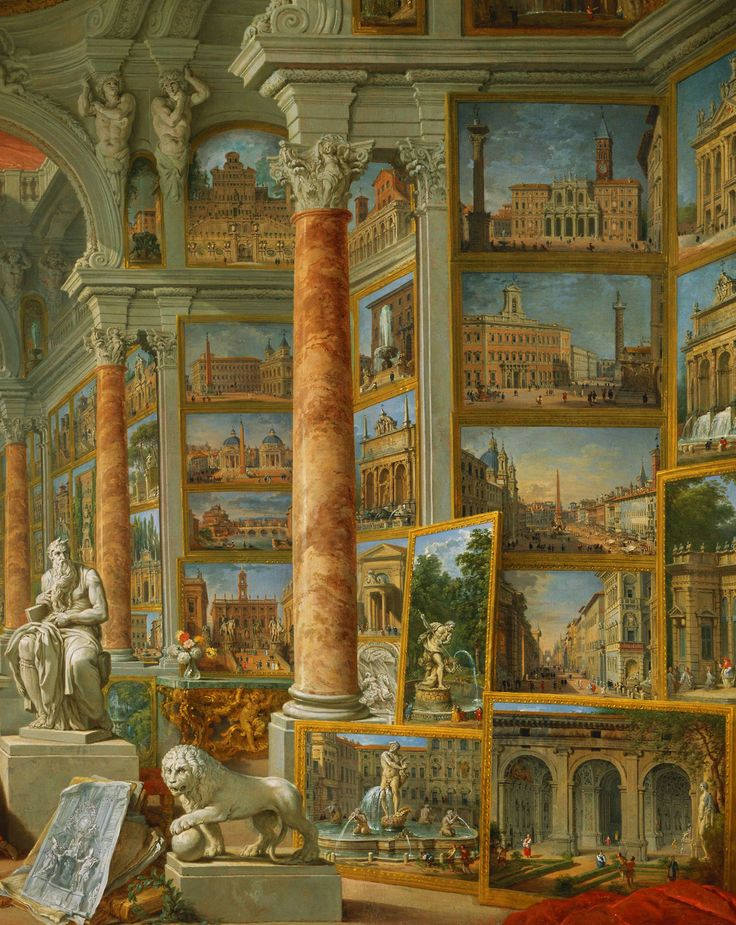 Giovanni Paolo Panini. Detail from Modern Rome, 1757.