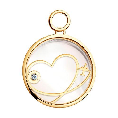 Золотая подвеска Love будет напоминать вам о романтических приключениях лета. Движущийся бриллиант и самолёт – символы путешествий и новых впечатлений. Задняя часть украшения выполнена из перламутра, а впереди оно покрыто блестящим и прочным сапфировым стеклом, которое не царапается и не тускнеет со временем.