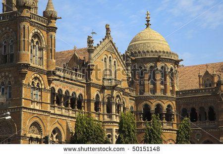 Victoria Terminus Train station in Bombay (Mumbai).  This is known as Chatrapathi Shivaji Terminus now in honor of the brave Mahrashtra king, Shivaji.
