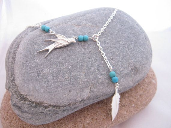 Swallow Bird Turquoise Gemstone Y Necklace 2017 by AnnethDesigns