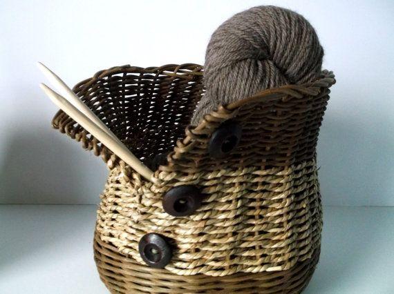 Knitting basket- Seagrass button-up basket- wicker basket- handmade basket