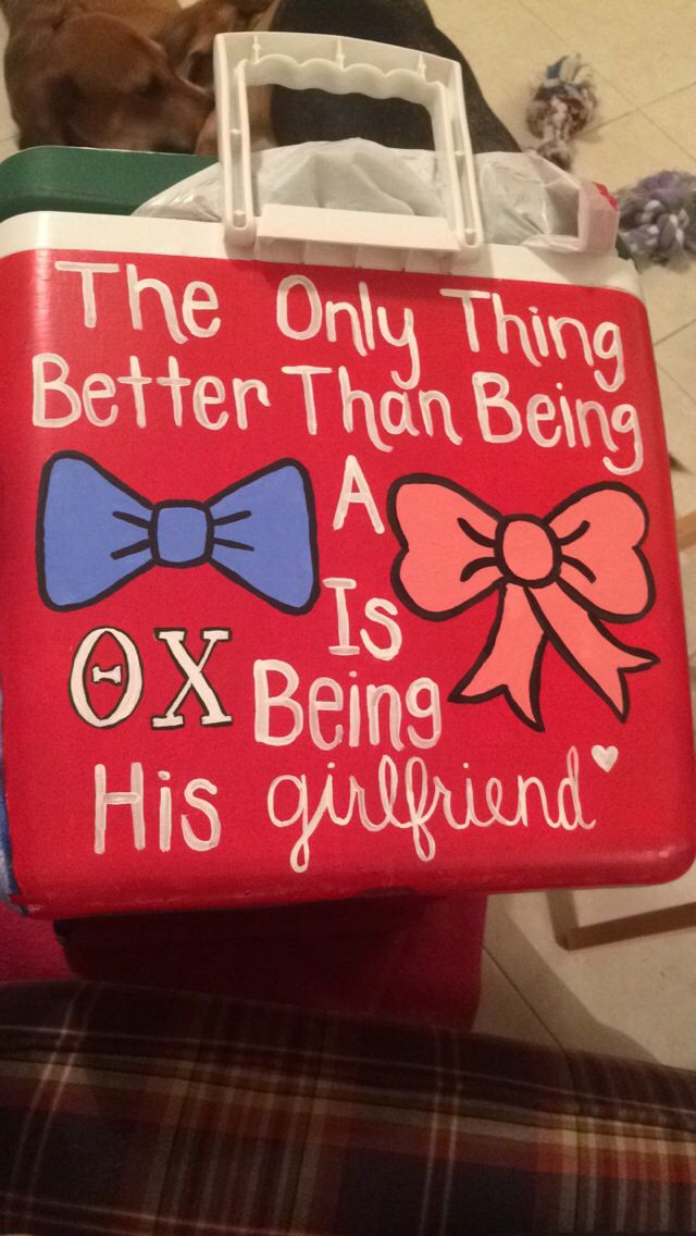 Theta chi frat cooler painted for my boyfriend for graduation