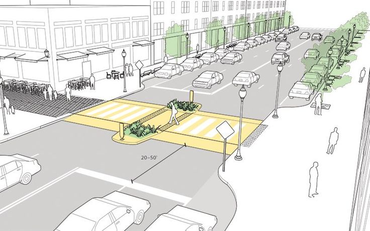 Midblock crosswalk designs explained and illustrated in the NATCO Urban Street Design Guide. Click on image for details, and visit the Slow Ottawa 'Streets for Everyone' Pinterest board for more of these superb illustrations.