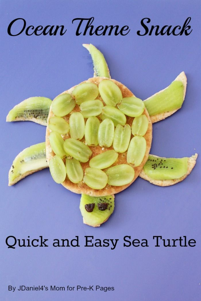 Ocean Theme Snack: Sea Turtles...cute way to get kids to eat healthy!
