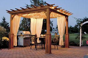 pergola curtains and lights