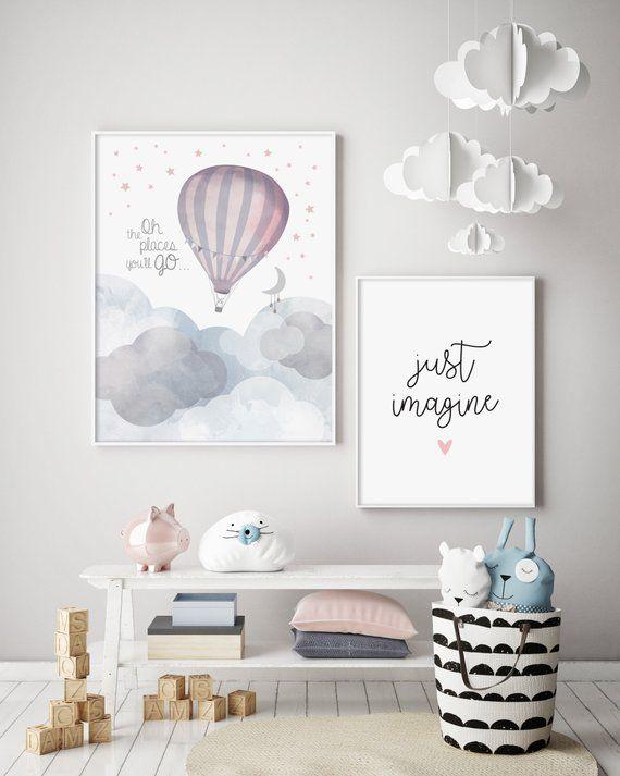 Oh, die Orte, an die Sie gehen – Heißluftballon – Kindergarten-Print – Baby Nursery – Wandkunst – Kinderzimmer – Mond & Sterne – Bunting – Abenteuer erwartet