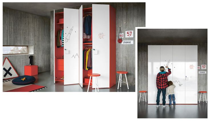 Free your creativity ! Hinged door wardrobe in pomodoro finish with Graphic doors and Duo handles. www.battistella.it You can find it at Tognin Arredamenti