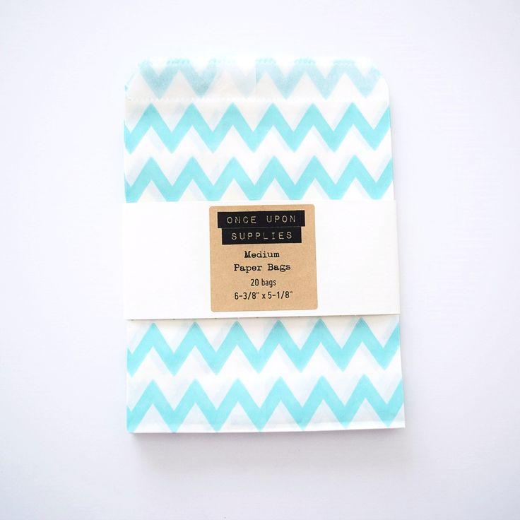 Medium Light Blue Chevron Zigzag Stripes Candy Treat Bags