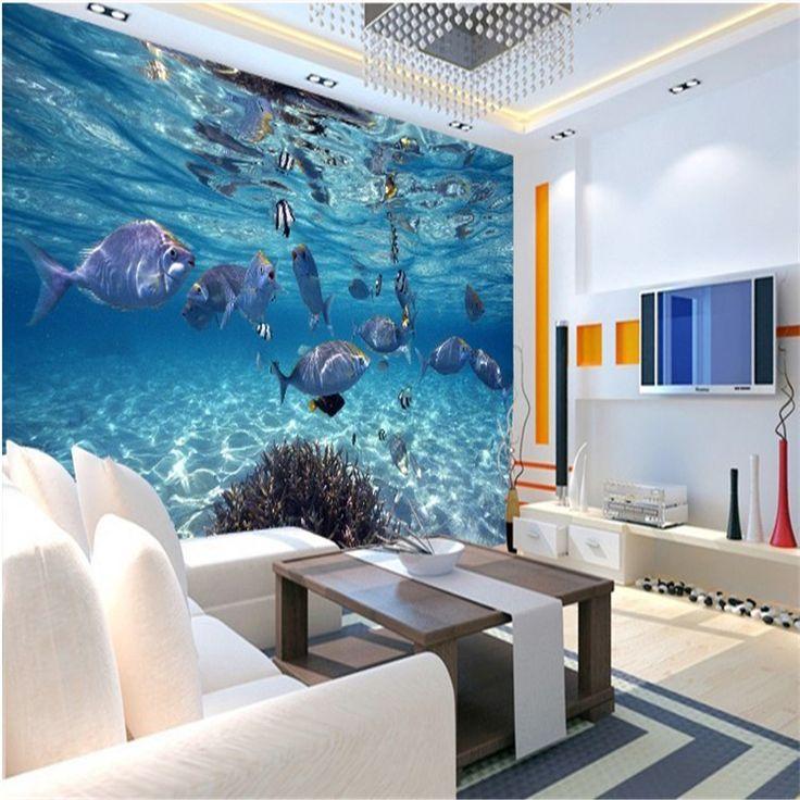 Пользовательские фото обои 3D стереоскопический подводный мир морской рыбы, живущие детская комната ТВ фон mural обоев