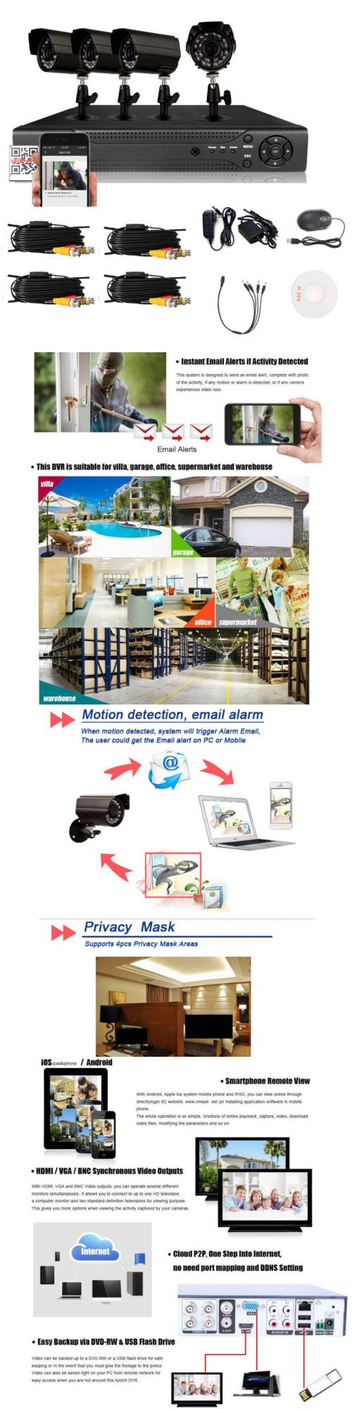 Security Cameras: New 4Ch 960H Hdmi Dvr 800Tvl Outdoor Cctv Home Security Waterproof Camera System BUY IT NOW ONLY: $59.99