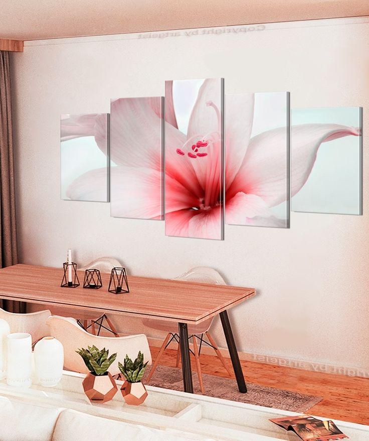 """Impresión sobre tela """"Amarylis: Red Charm"""" (Amaryllis: Encanto rojo) de cinco piezas combina la delicadeza con un soplo de aire fresco. Es ideal para los interiores románticos en los colores claros ✿"""