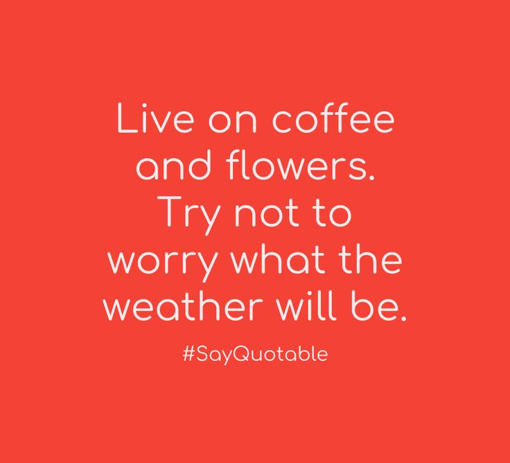 Quote Live on coffee and flowers.  Try not to worry what the weather will be.   with picture background