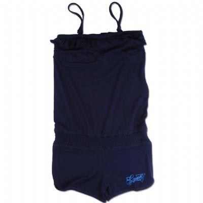 """Lekkere stretchy jumpsuit van GUESS, collectie zomer 2012.    Materiaal: 95 % viscose en 5 % elastaan.    De schouderbandjes zijn verstelbaar. Op het broekje de merknaam """"Guess"""" in lichtblauwe glitter.  Langs de bovenrand is een strook stof aangerimpeld voor een speels effect."""