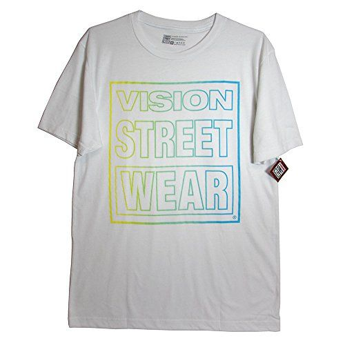 """Vision Street Wear Mens Spring Fever Logo Shortsleeve Tee Shirt   Vision Street Wear Mens Spring Fever Logo Shortsleeve Tee Shirt  Brand: Vision Street Wear.  Style Name: Spring Fever.  Department: Men.  Country of Origin: Mexico.  Materials: Cotton/Polyester/R.Y.  Neon colors """"Vision Street Wear"""" text graphic at front.  Machine washable.  Shoulder to Shoulder length measures approx. 20"""".  Underarm to Underarm length measures approx. 20 1/2"""".  Sleeve length measures approx. 9 3/4"""".  .."""