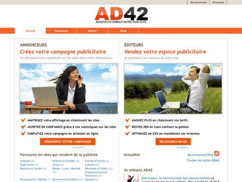 AD42 est une solution publicitaire idéale pour acheter ou vendre des publicités ciblées sur des centaines de sites proposant des espaces publicitaires. Faites votre publicité internet aux formats carré 125 x 125 ou au format de liens sponsorisés. Editeurs, AD42 est la meilleure plateforme de gestion d'espaces publicitaires sur le net pour générer un max de revenu en toute simplicité avec votre site internet. Ad42.com (via AD42 - Publicité sur Internet)