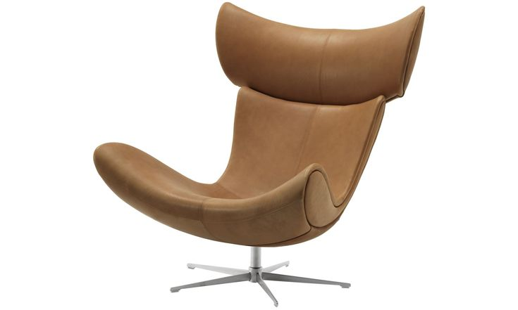 Armchairs - Imola chair with swivel function - Brown - Leather