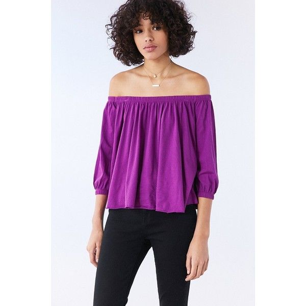 Truly Madly Deeply Bardot Off-The-Shoulder Top ($44) ❤ liked on Polyvore featuring tops, trapeze tops, purple off the shoulder top, purple off shoulder top, truly madly deeply and long swing top