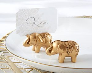 marque place éléphant or - Gold Lucky Elephant Place Card Holders