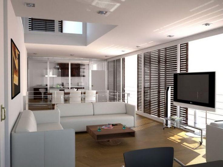 Apartment, Studio Apartment Design Wooden Blind Curtain Cream Leather Sofa Decoration Small Bathroom Ideas Brown Side Table…