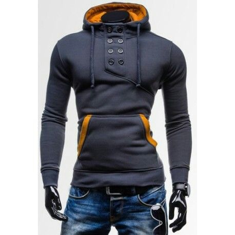 Deep Grey Novel Double-Breasted Embellished Hooded Color Splicing Slimming Long Sleeves Hoodie For Men
