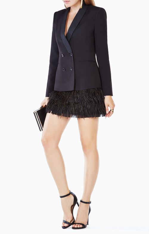 Delphina Feathered Jacket Dress BCBG