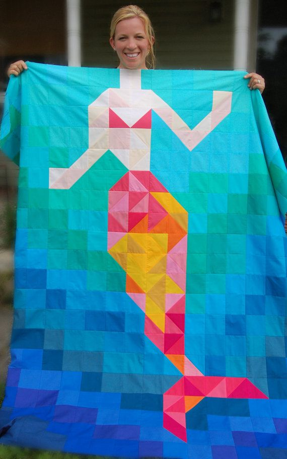 The Be a Mermaid Quilt Pattern от CoopCrafts на Etsy