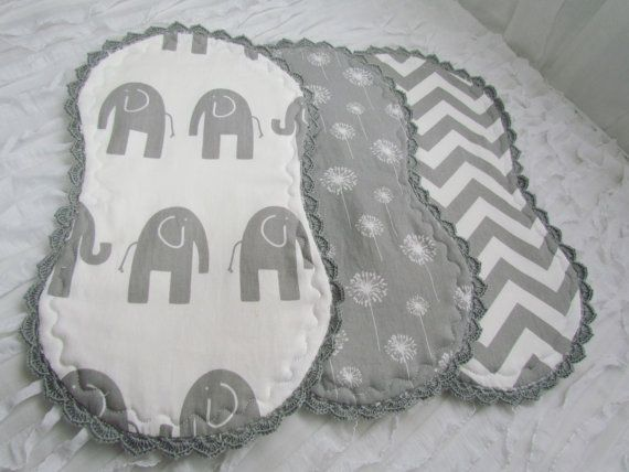 "Baby burp cloths, set of 3- 10"" x 18"". Made from grey and white chevron, Ele the elephant and grey with white background dandelions. on Etsy, $22.00"
