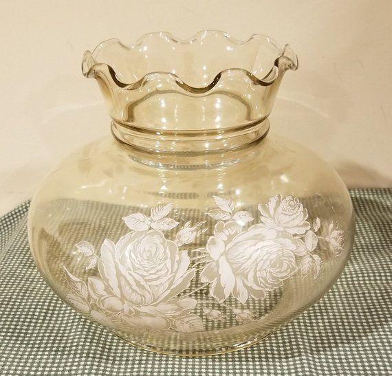 "ruffled edge Vintage white w// blue flowers ceiling fan glass shade 4 1//2/"" high"