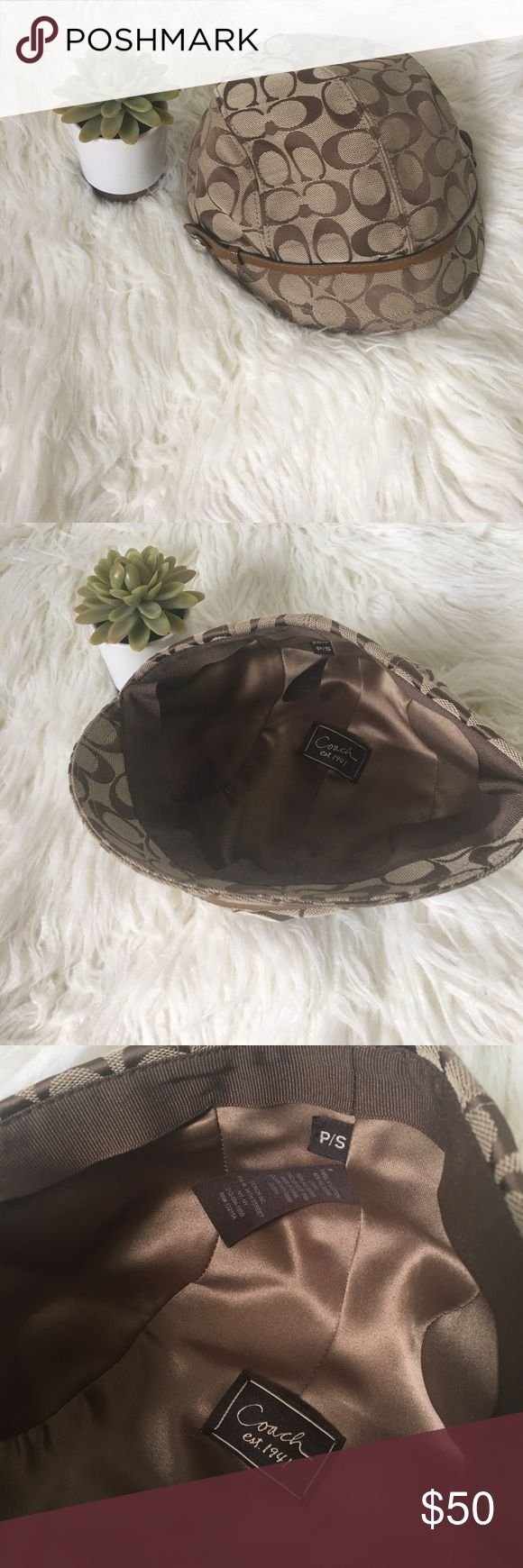 """🆕 Coach Hat Brand new without tags, Authentic Coach Hat. Brown & tan. Traditional Coach """"C"""" design. Size small. Coach Accessories Hats"""