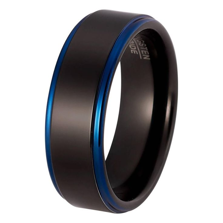 Black Blue Wedding Ring Tungsten Carbide Mens Wedding Band High Polished 8mm Tungsten Ring Man Engagement Ring Anniversary Promise Black Wedding Band Matching Set Blue Ring Scratch Proof