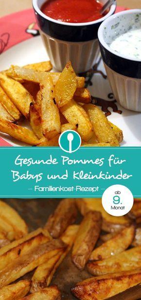 """Gesunde Pommes """"rot-weiß"""" aus Kartoffeln und Kohlrabi mit selbstgemachtem Ketchup ohne Zucker. Fingerfood Rezept für Babys und Kleinkinder."""