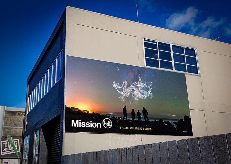 Billboard design – Stellar Design. Mission Hall Wellington New Zealand