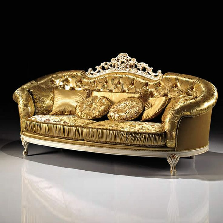 Gold Luxury Sofas Floral Ornament Arm Sofa Cushions