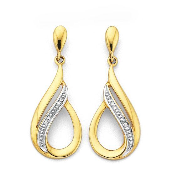 9ct Gold Diamond Drop Earrings