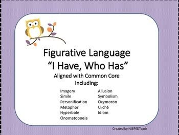 This is a wonderful review game for figurative language devices and terms including:  IMAGERY SIMILE METAPHOR  PERSONIFICATION  HYPERBOLE ONOMATOPOEIA   ALLITERATION  SYMBOLISM   IDIOM   CLICHE  OXYMORON ALLUSION  Definitions and examples of each are included.  31 cards included in this reusable game.
