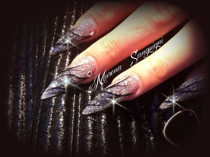 Swarovski crystal stiletto nails lace black