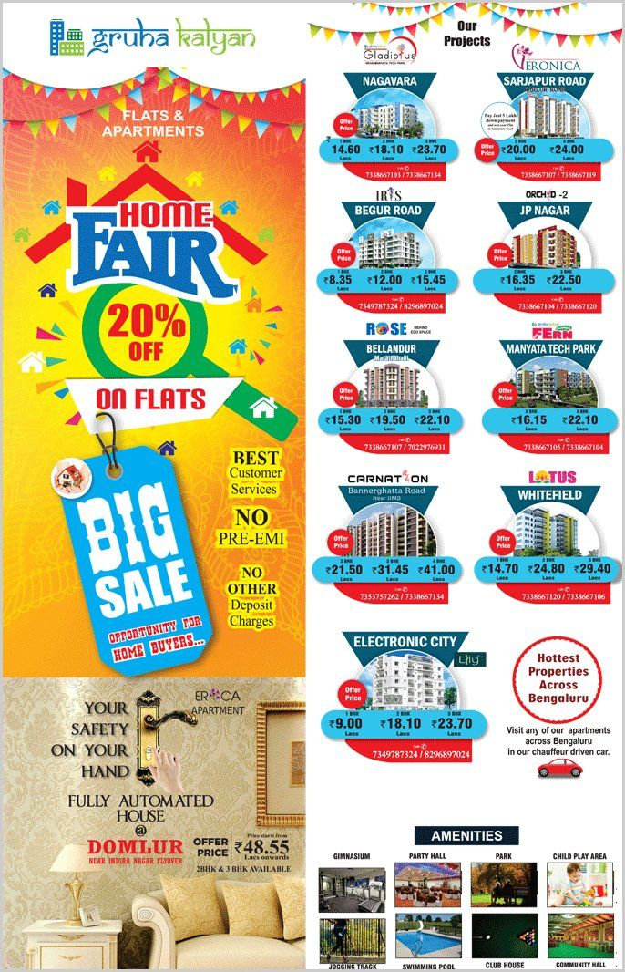 GRUHAKALYAN BIG SALE, 20% OFF ON FLATS BIG OPPORTUNITY FOR HOME BUYERS AVAILABLE LOCATIONS DOMLUR, NAGAVARA, ELECTRONIC CITY, SARJAPURA ROAD/HARLUR ROAD, BEGUR ROAD, WHITEFIELD, JP NAGAR, MARATHAHALLI/BELLANDUR, MANYATHA TECH PARK AND BANNERGHATTA ROAD NEAR IIMB,  BEST CUSTOMER SERVICES, NO PRE EMI, NO OTHER DEPOSIT CHARGES VISIT: http://www.gruhakalyan.com/flats-deal-offers-in-bangalore.html CALL: 7338667103 , 7338667107 , 7338667104 ,7349787324.