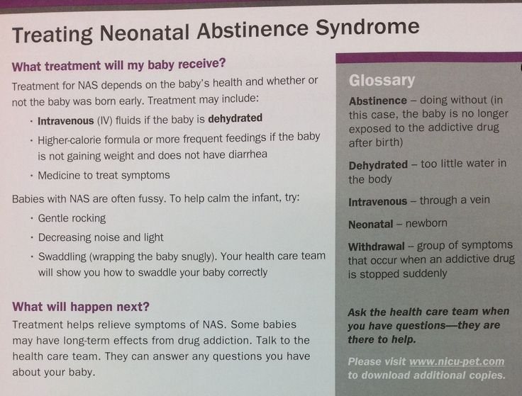 management of neonatal abstinence syndrome in Background information neonatal abstinence syndrome is a condition in which a baby has withdrawal symptoms after being exposed to certain substances.